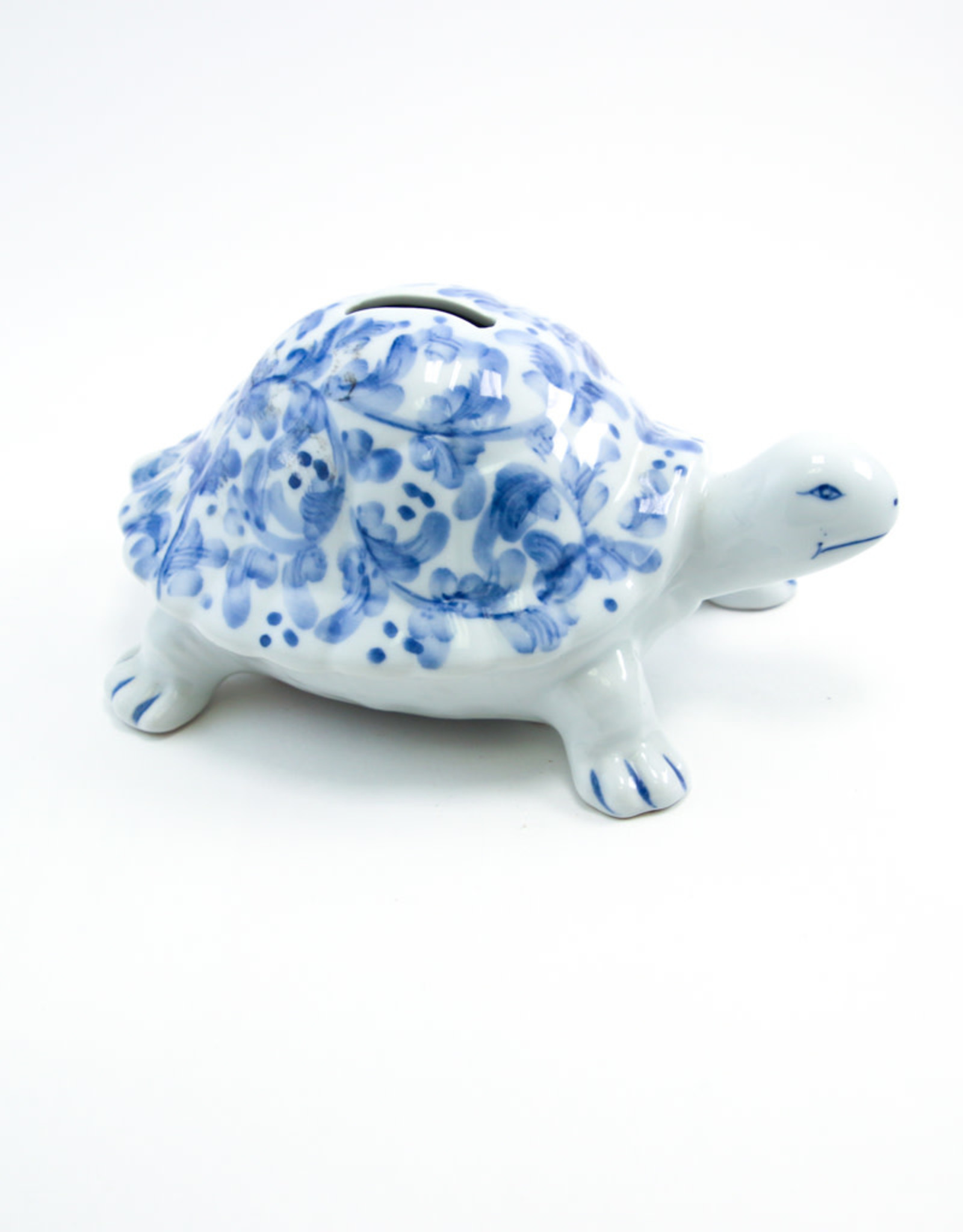 Andrea by Sadek Blue & White Ceramic Turtle Bank