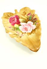 Lefton China China Leaf Dish/Romantic Rose Pattern