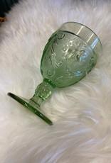 Tiara Indiana Glass Tiara Chantilly Green Sandwich Wine Goblets