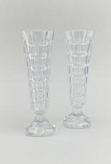 Cut Glass Block Vases Pair