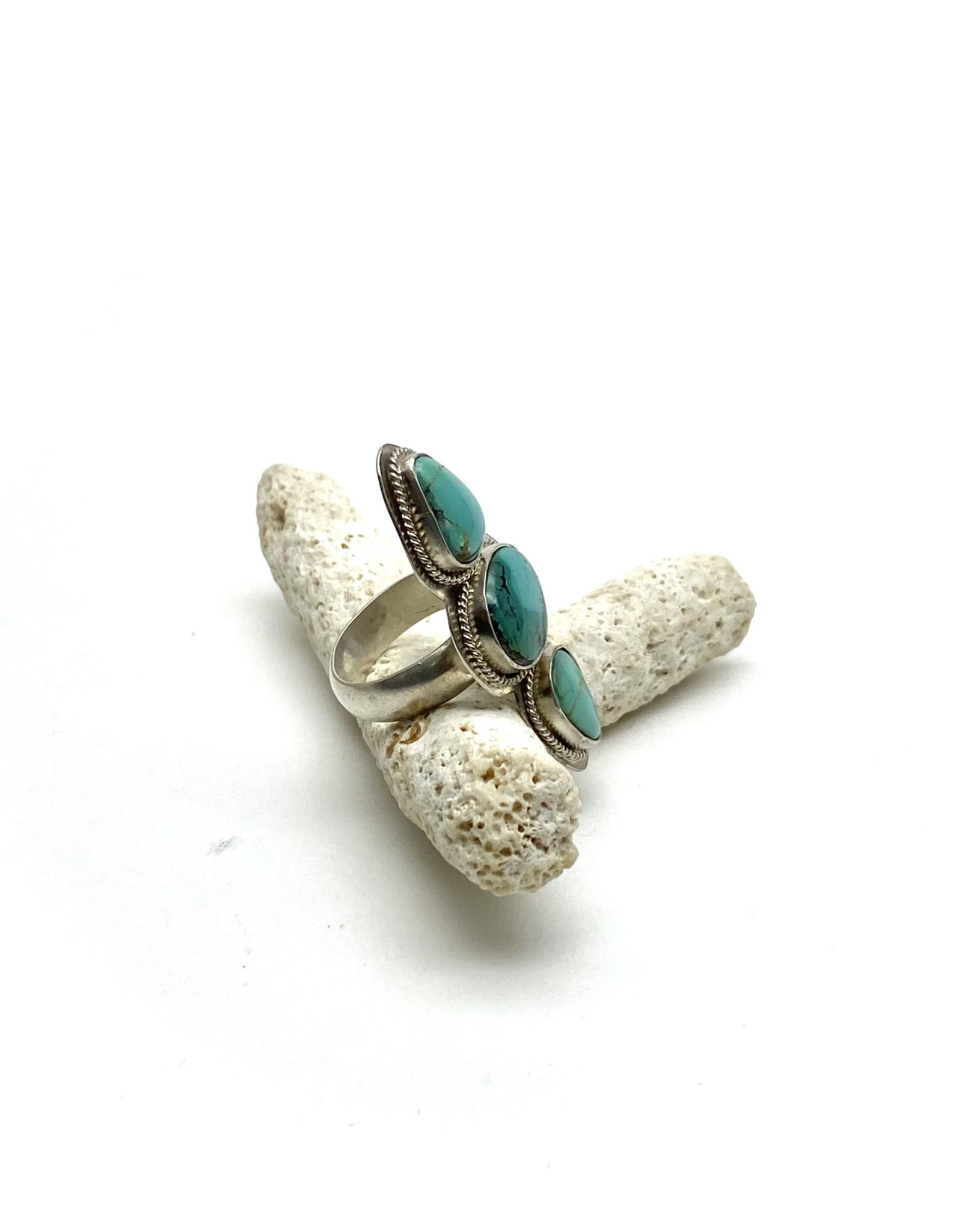 Tri-Stone Turquoise Statement Ring