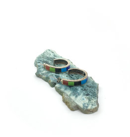 Half-Hoop Banded Inlay Stone Earrings
