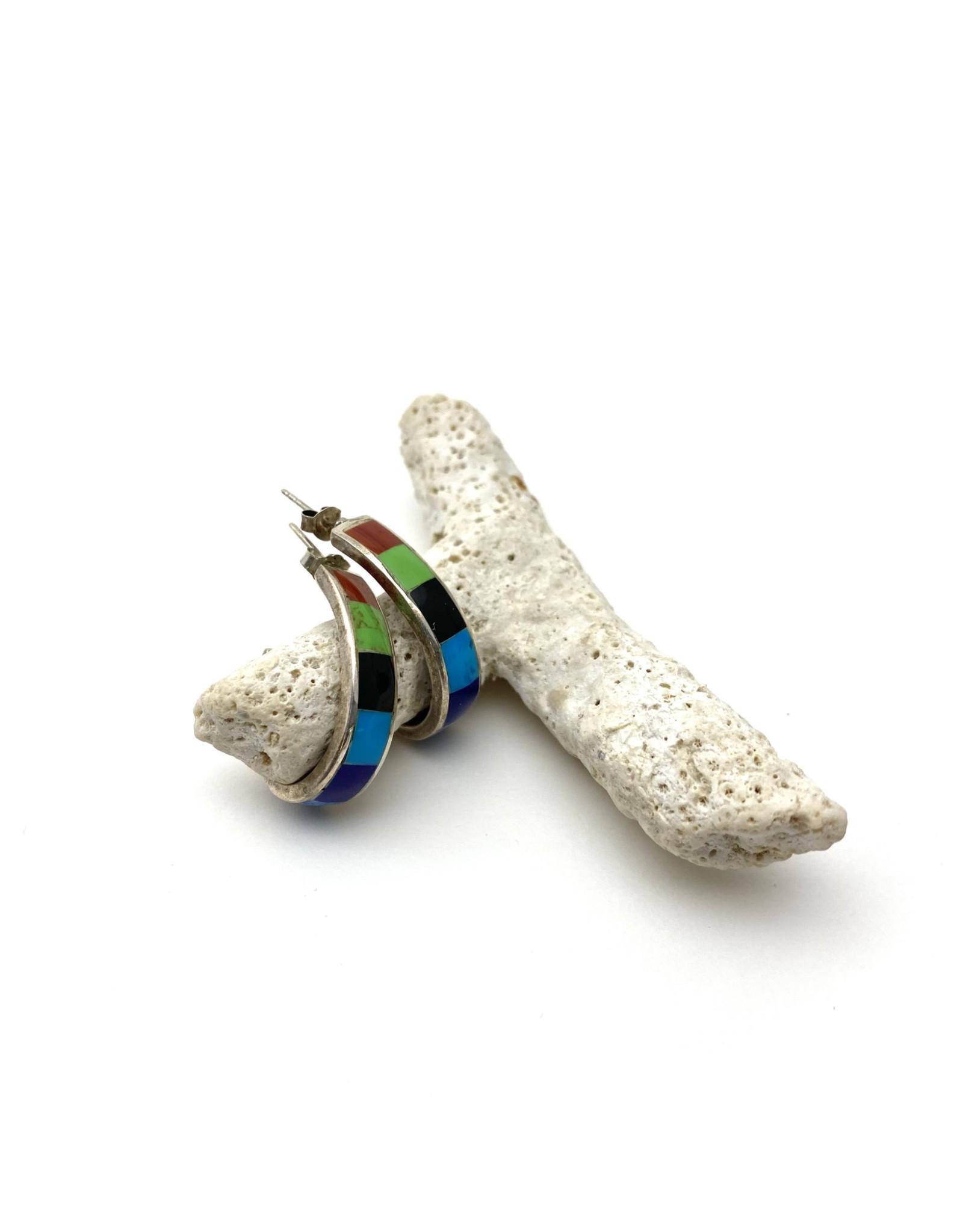 Half-Hoop Banded Inlay Stone Earrings