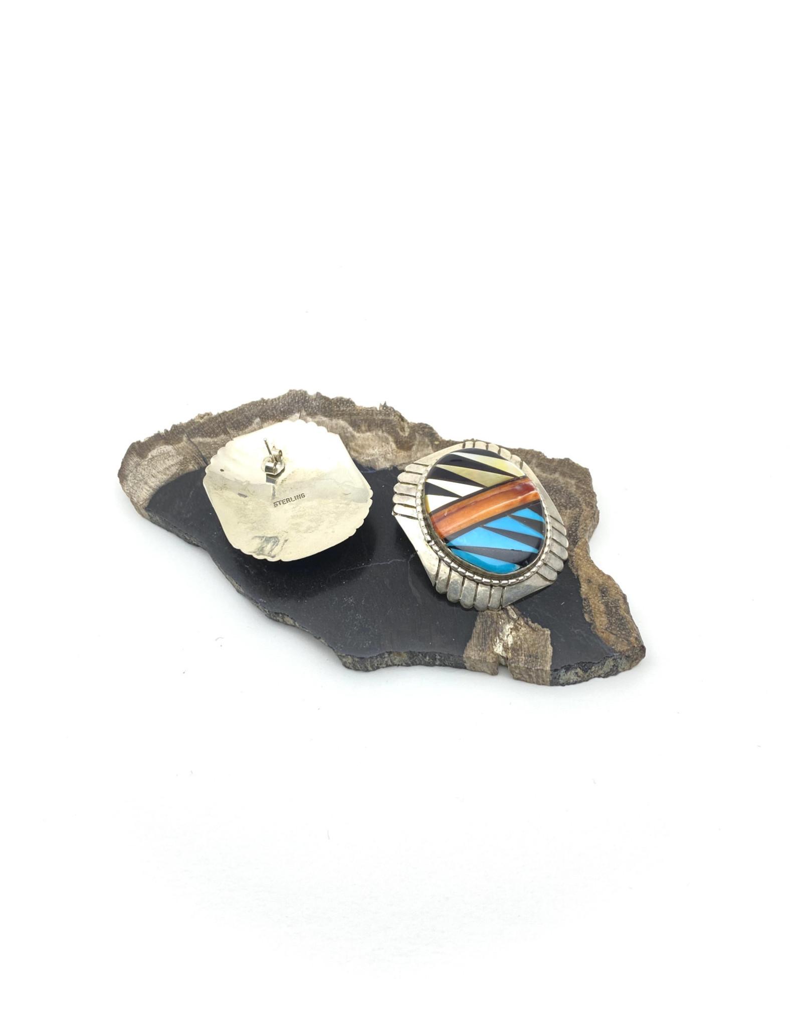 Zuni Oval Inlay Vintage Earrings
