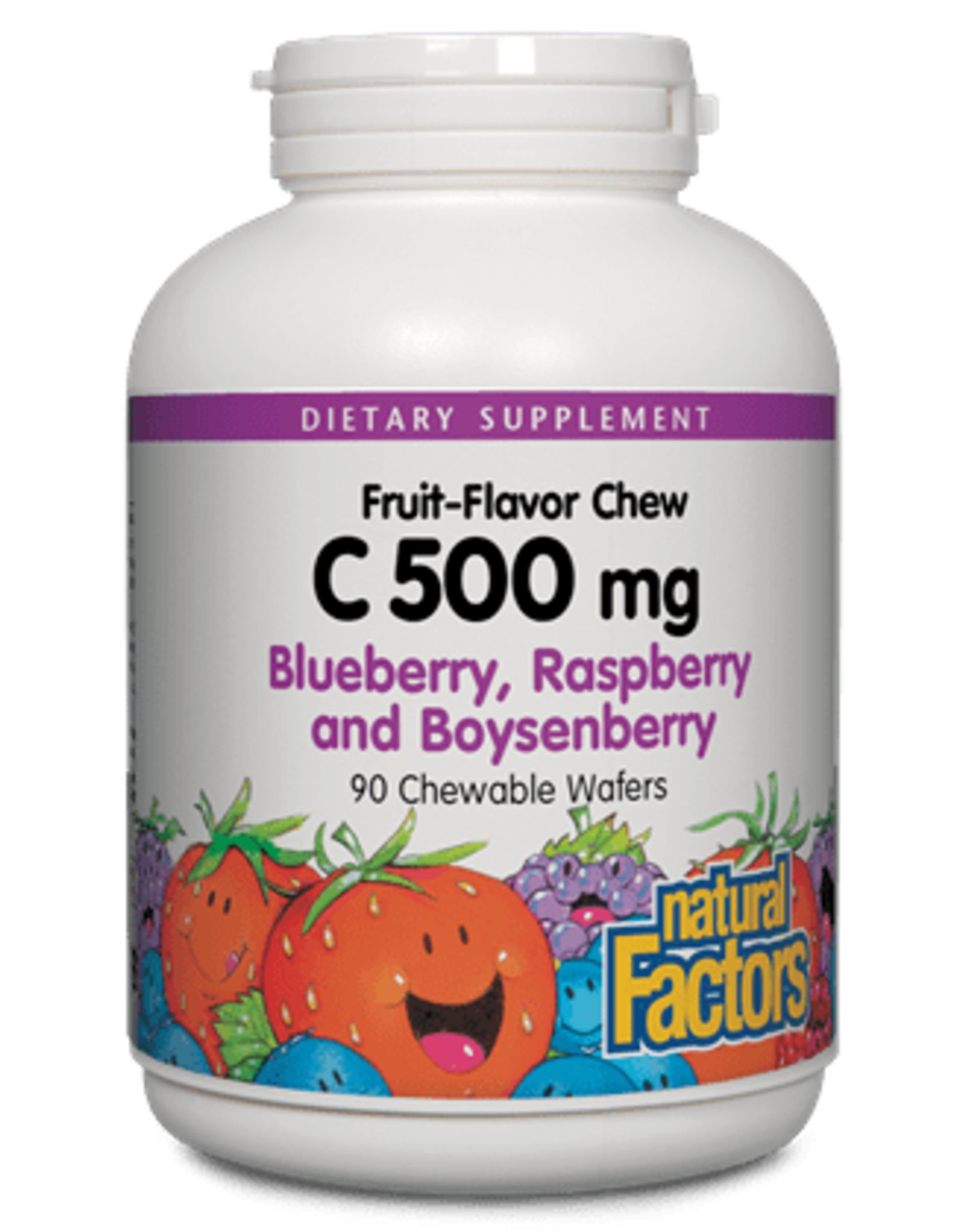 Natural Factors Vit C 500 mg Natural Fruit Chews Blueberry, Raspberry & Boysenberry 90/TAB