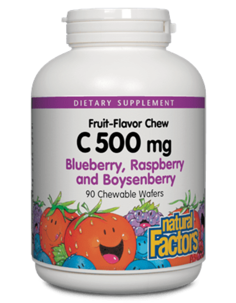 Natural Factors Vit C 500 mg Natural Fruit Chews Blueberry, Raspberry & Boysenberry 90/TAB