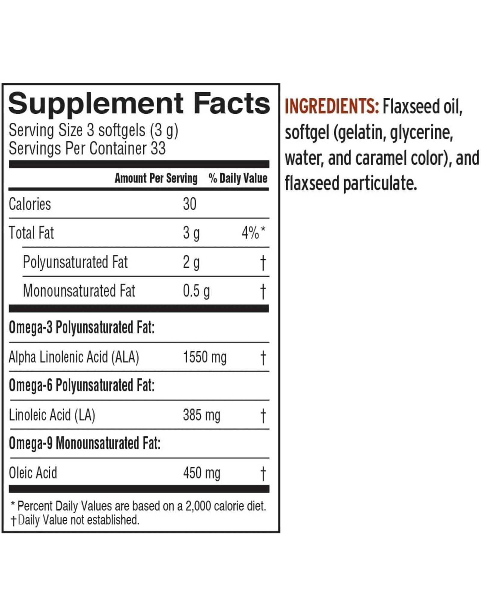 Barleans Lignan Flax Seed Oil Softgels 100ct