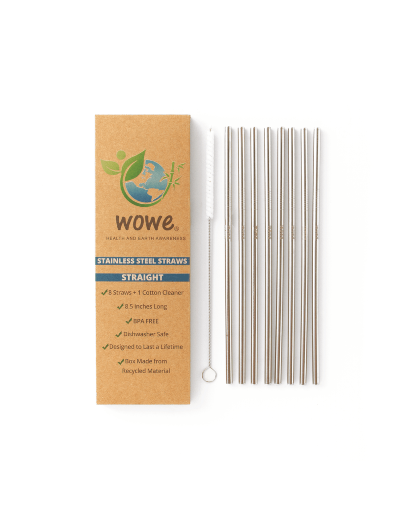 Stainless Steel Straws - Pack of 8