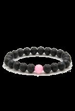 Matrix Aromatherapy Rose Quartz Bead Lava Bracelet