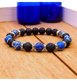 Matrix Aromatherapy Lava Bracelet - Blue Jasper