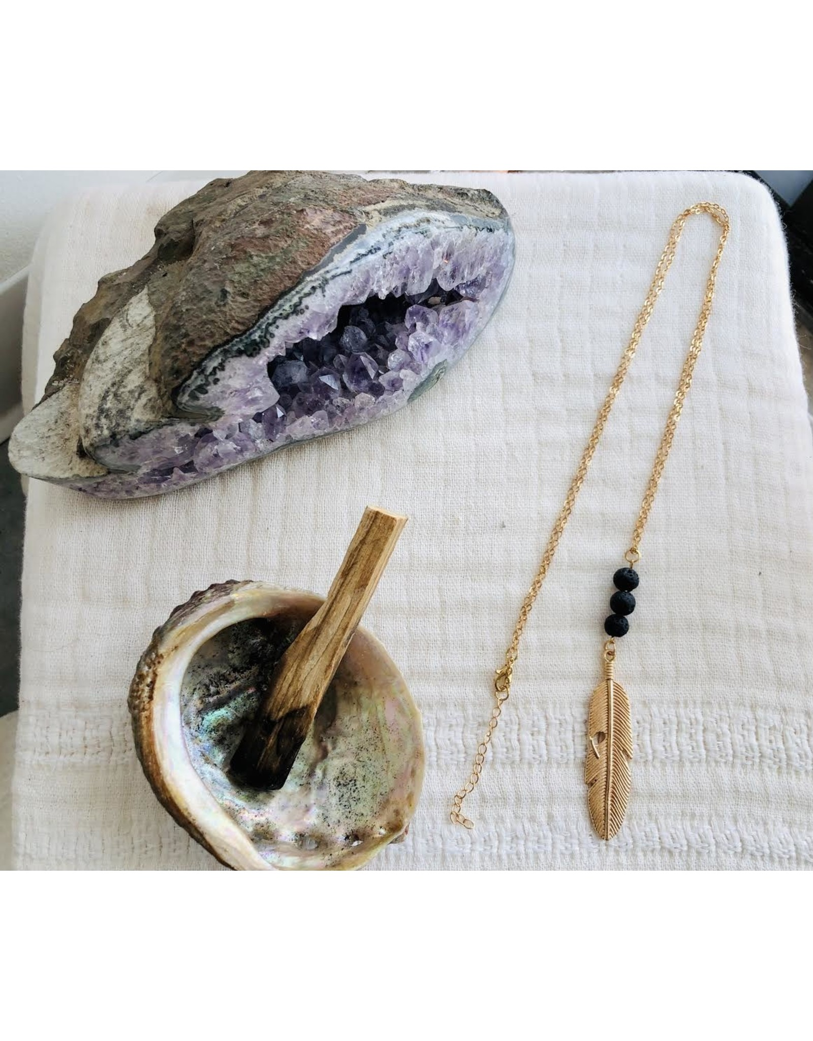 Gold Feather Lava Stone Diffuser Necklace