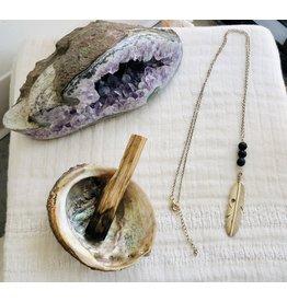 Silver Feather Lava Stone Diffuser Necklace