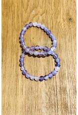 Amethyst Matte Purple Round Bead Stretch Bracelet - 8mm