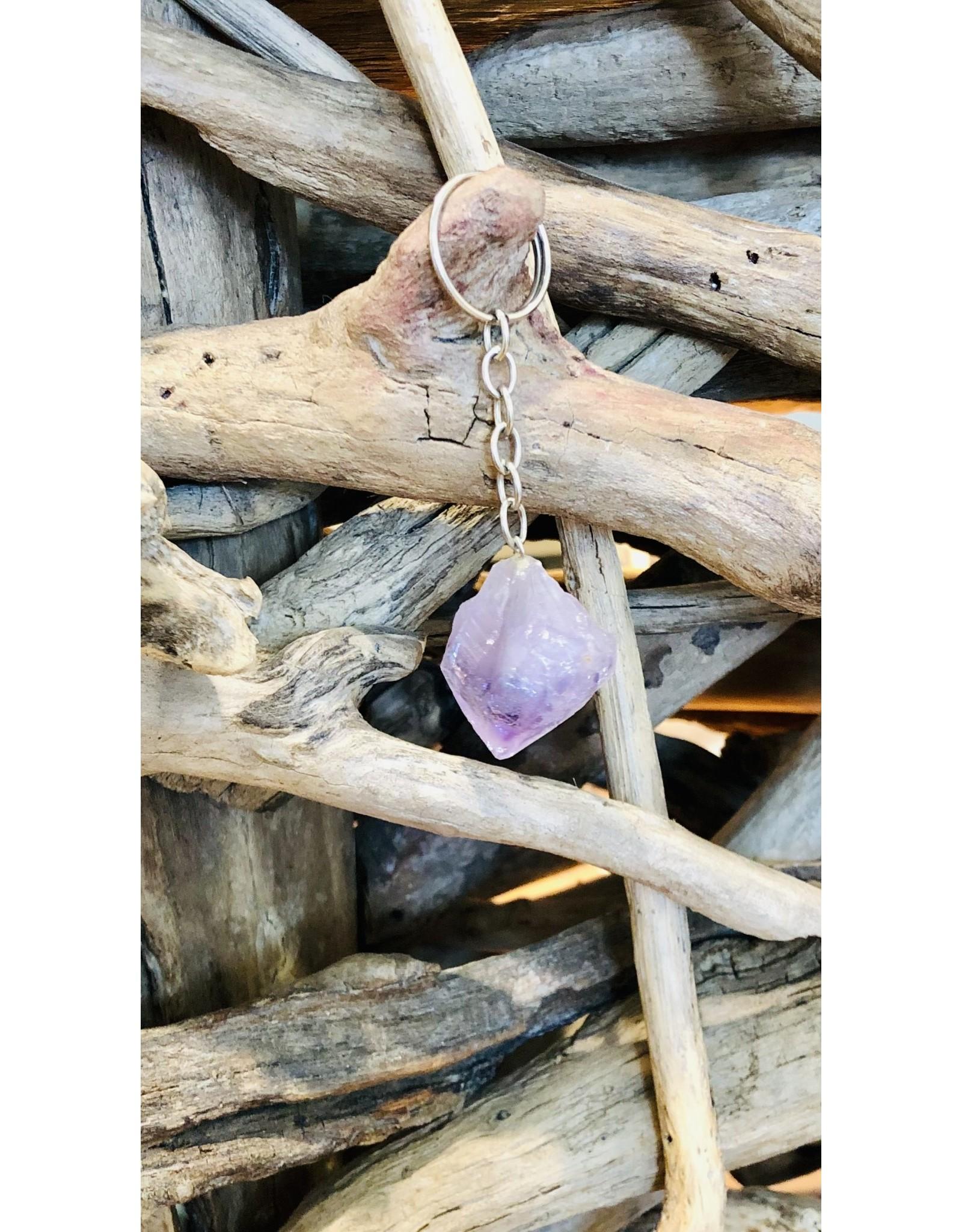 Amethyst Crystal Keychain