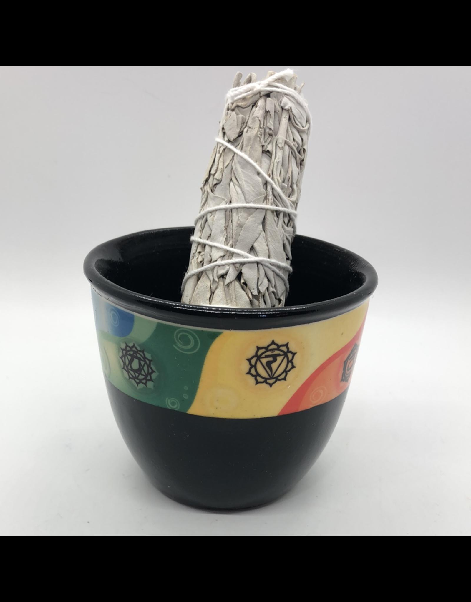 Small Ceramic Smudge Pot - Chakras