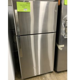 GE GE 22 CuFt, Freestanding Top Freezer Refrigerator - Stainless Steel
