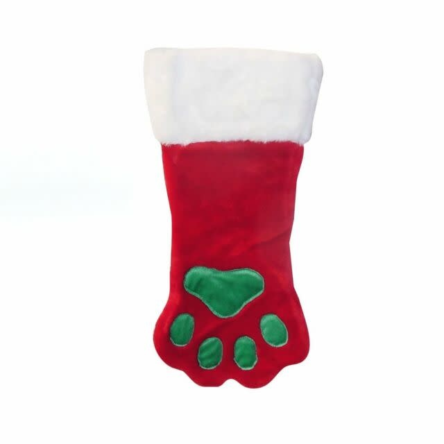 XMAS Stocking Red, Green Paw 20""