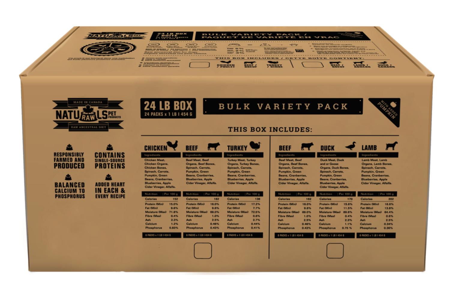 Variety Pack Beef Duck Lamb Bulk 21lb