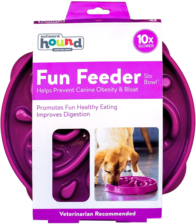 Outward Hound Fun Feeder Bowl Purple Med/Mini