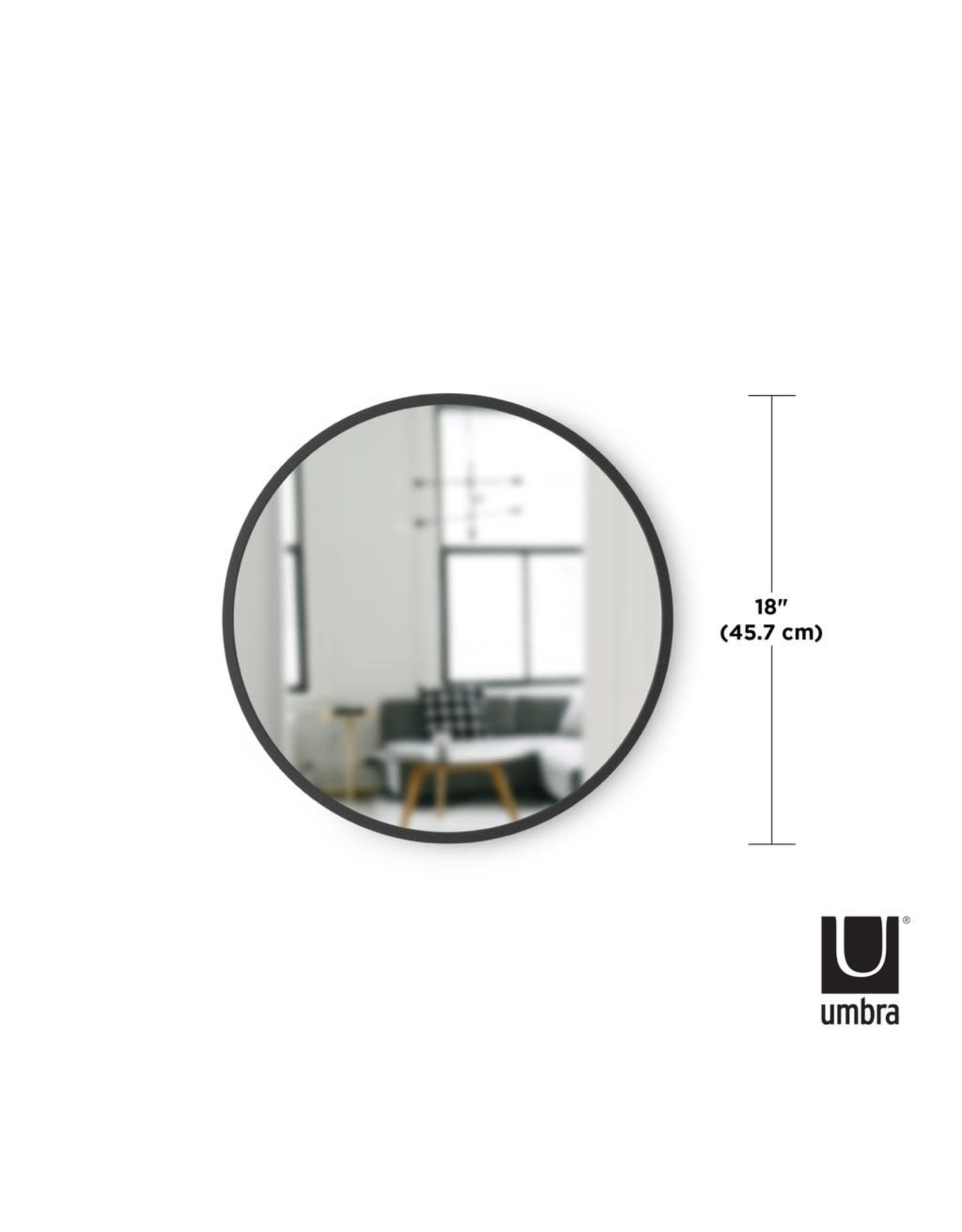 """Hub Wall Mirror 18"""" Black"""