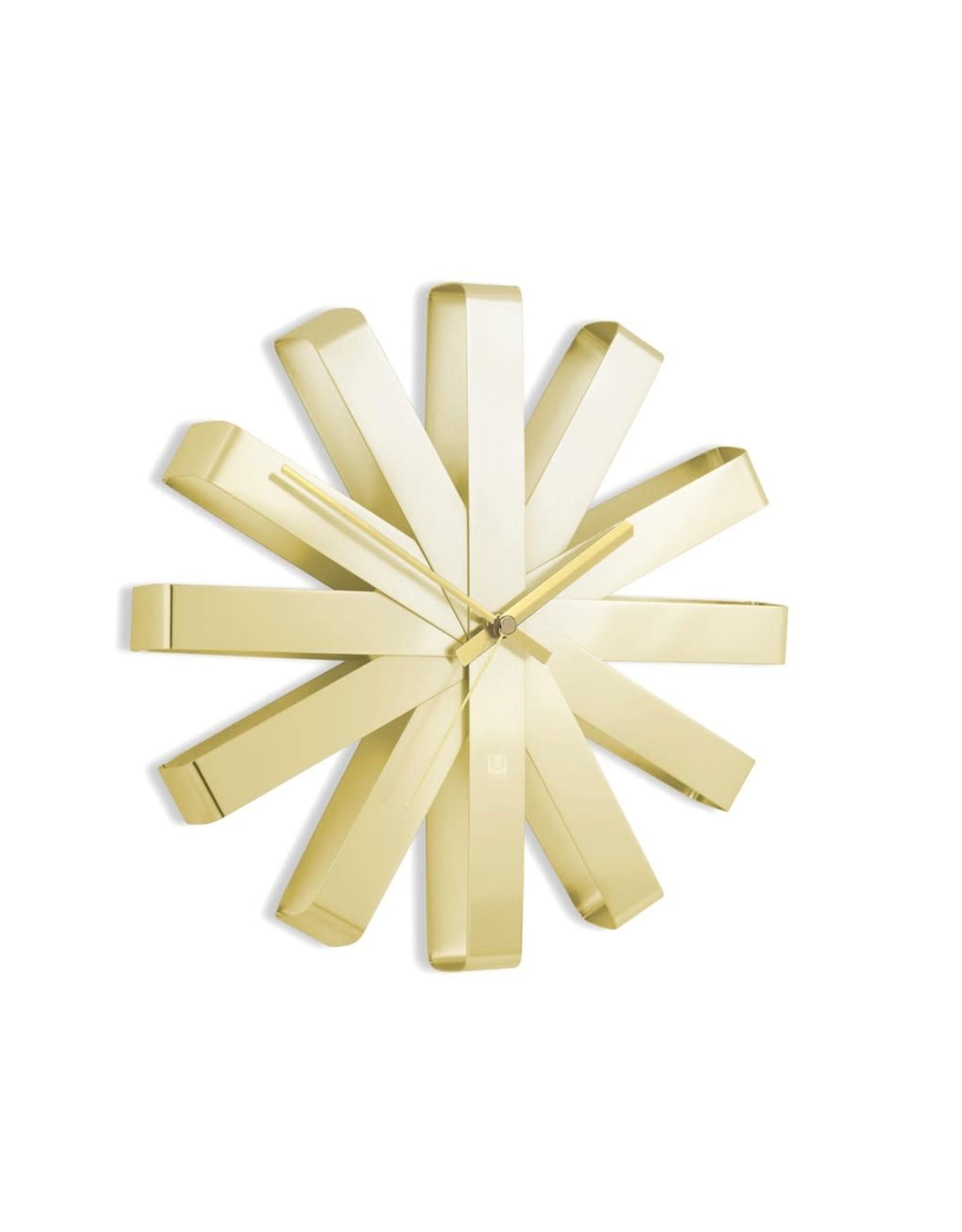 Brass Ribbon Wall Clock