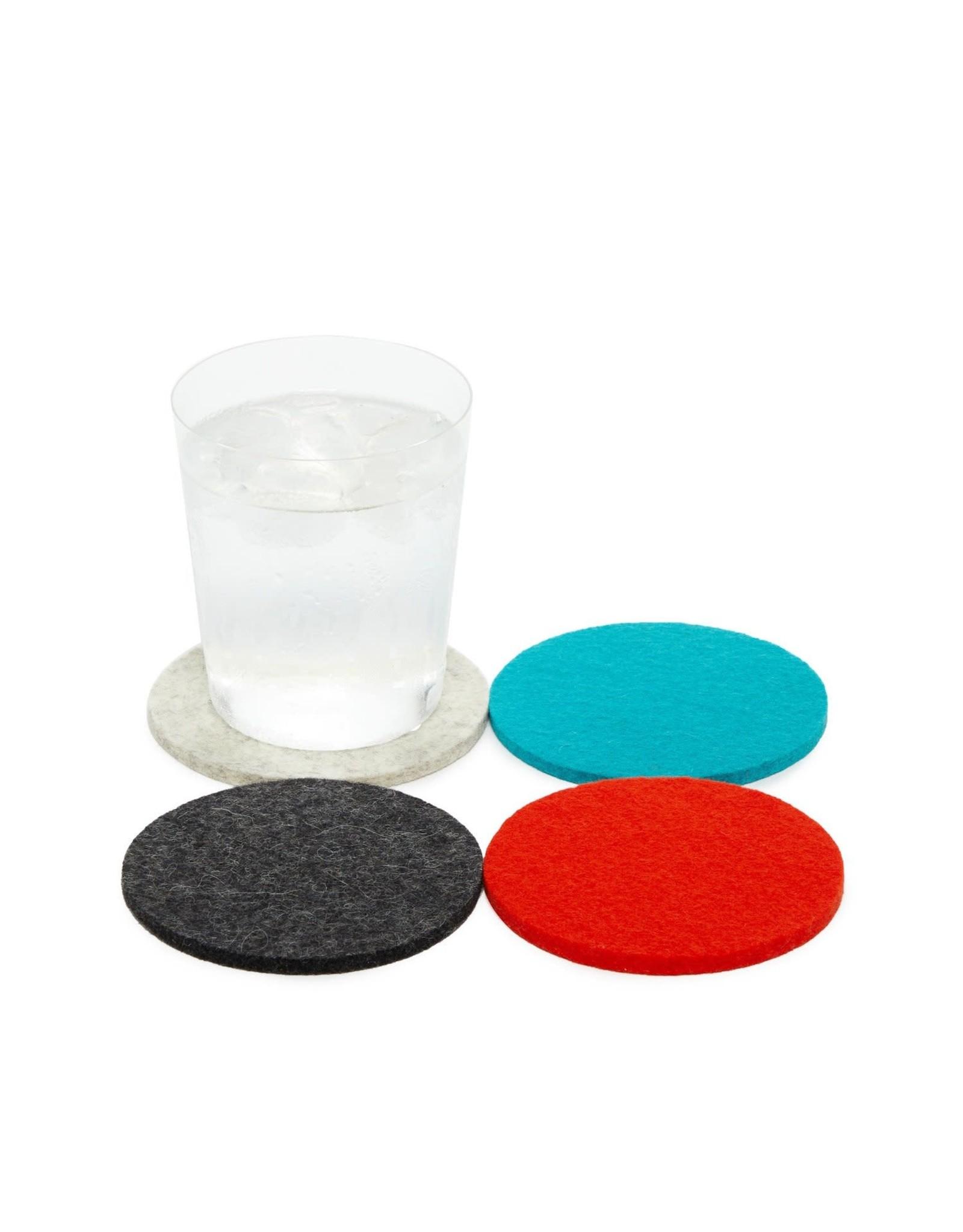 Bierfilzl Round Multi Color Felt Coaster in Midcentury