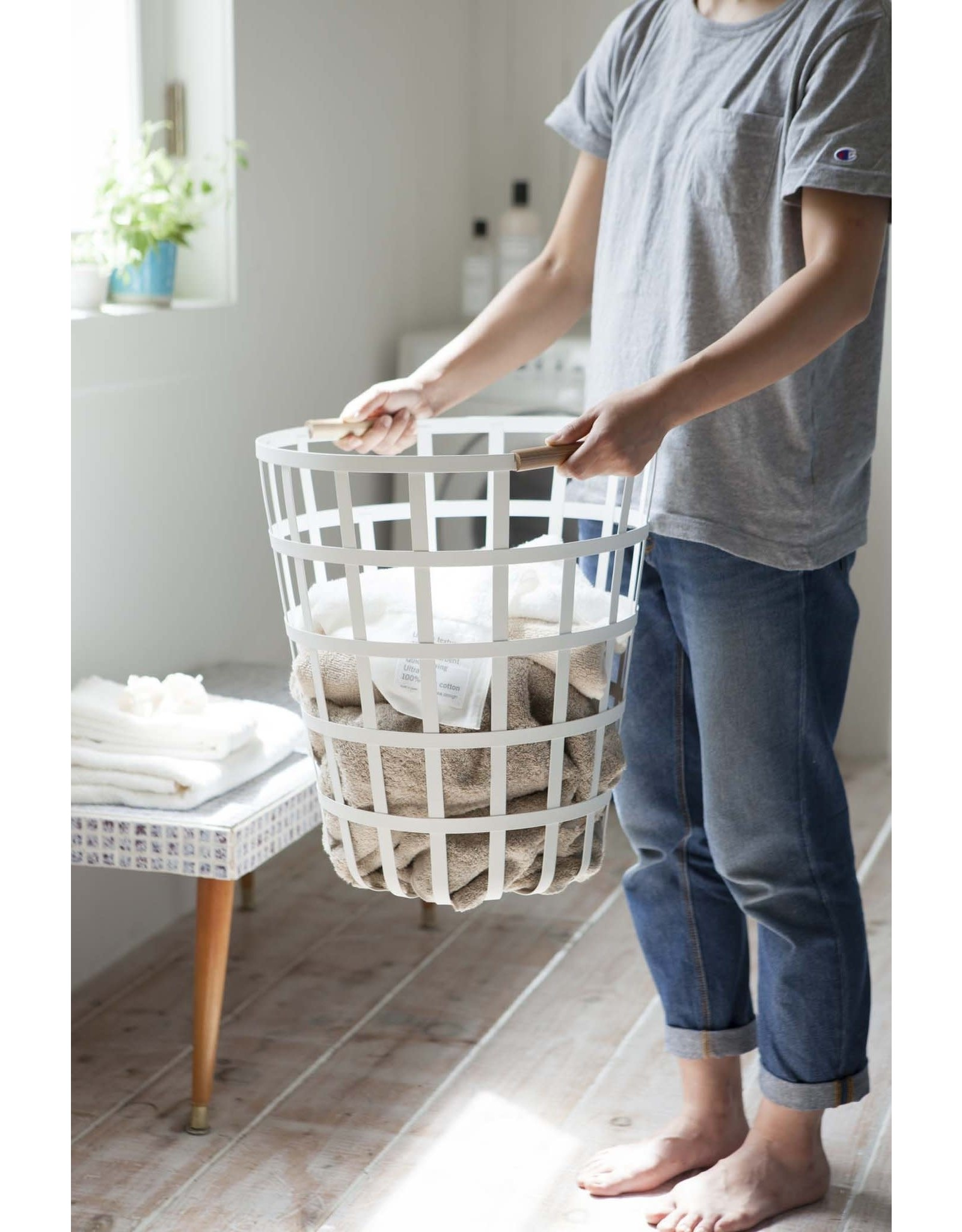 Round Laundry Basket White