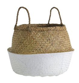 Woven Basket in Natural with White Accent