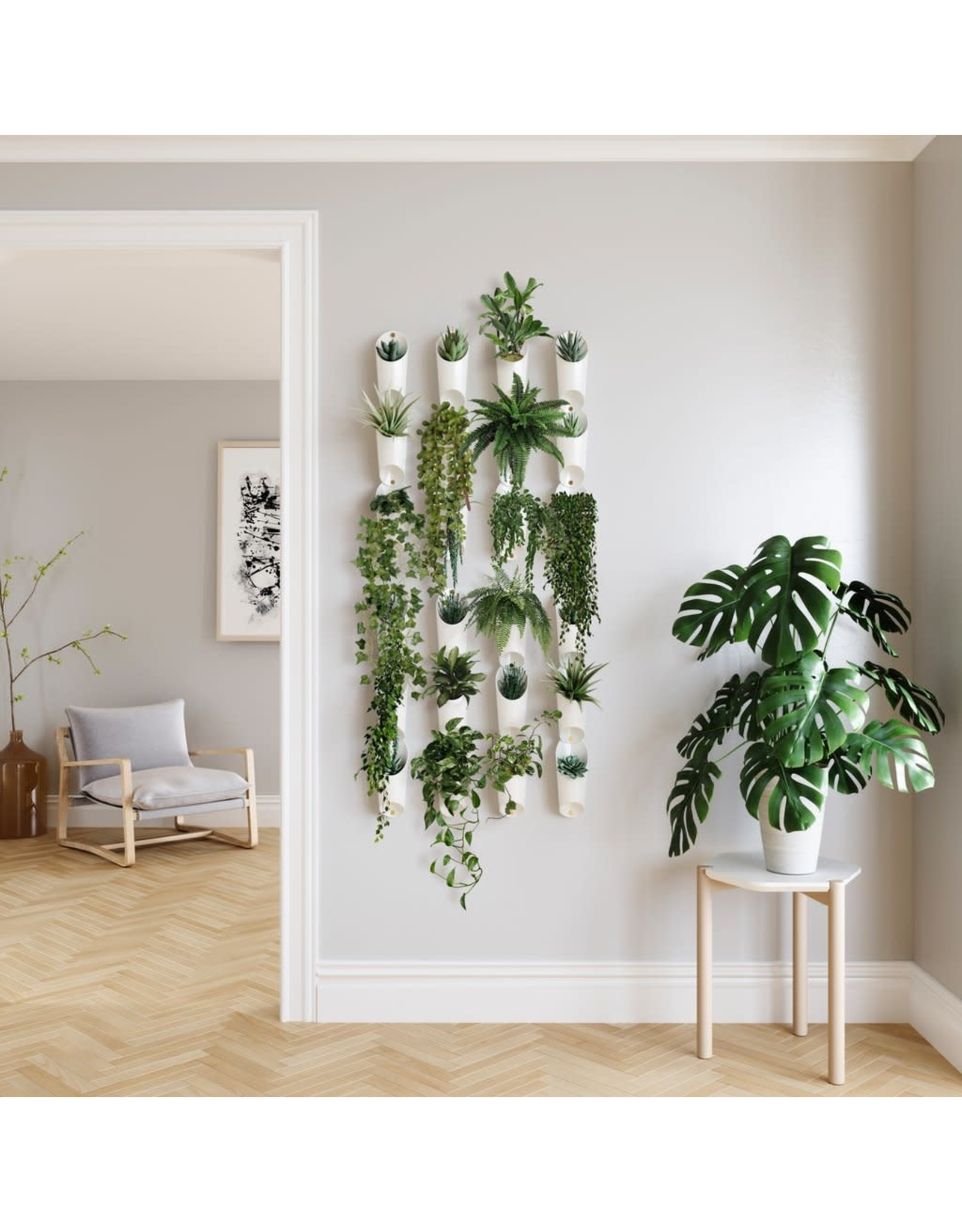 Floralink Wall Vessel in White - Set of 3