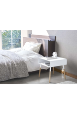 Square White Side Table with Storage Shelf