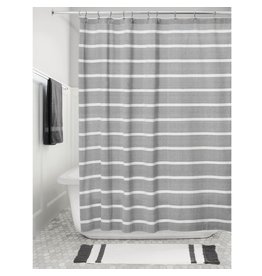 ITD Charcoal & White Stripe 100% Cotton Shower Curtain