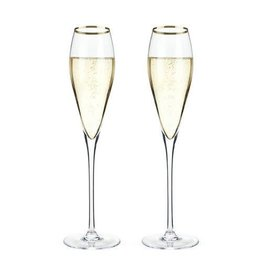 TRB Gold Rimmed Crystal Champagne Flutes - Set of 2