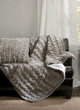 Olliix Ruched Fur Throw - Grey