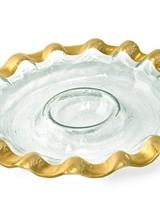Annie Glass Ruffle Round Chip & Dip Server