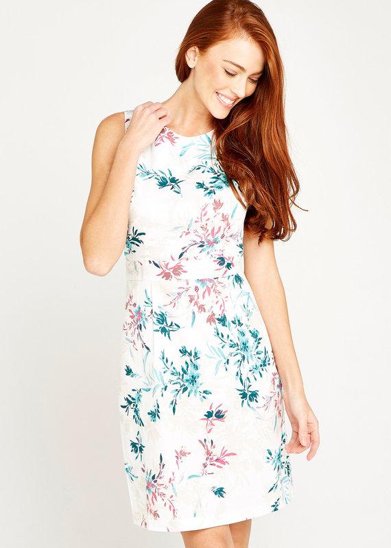 Apricot Floral Print Poplin Shift Dress