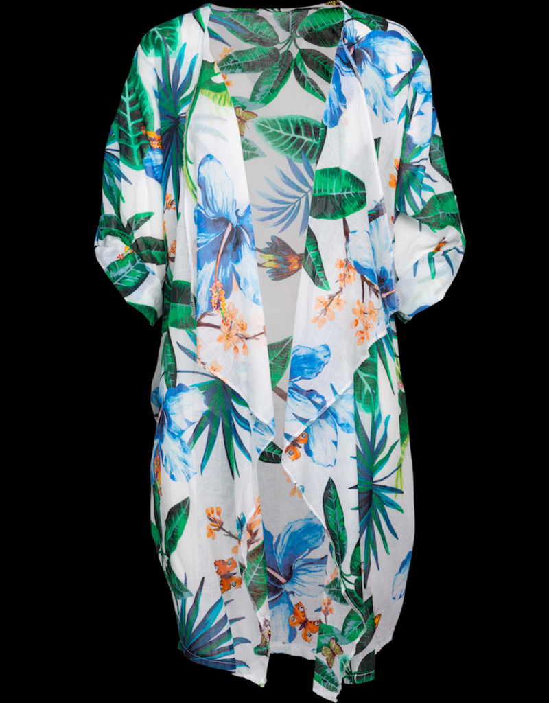 """""""M"""" Made in Italy Tropical Print 3/4 Sleeve Cardigan"""