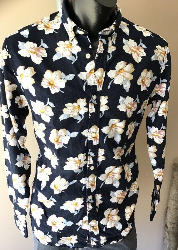 Jack & Jones Summer Print Shirt Navy w Floral Pattern