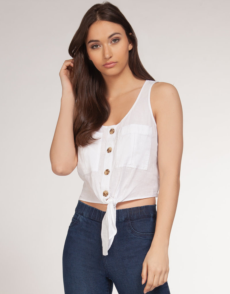 Dex Sleeveless Button Down Blouse w/ Front Tie & Pockets