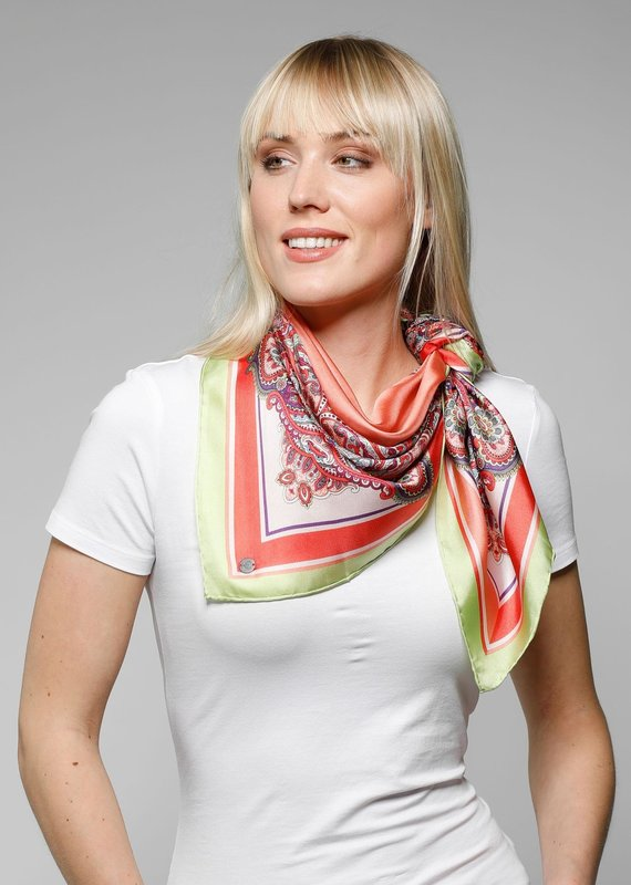 Fraas Large square silk scarf coral pink design