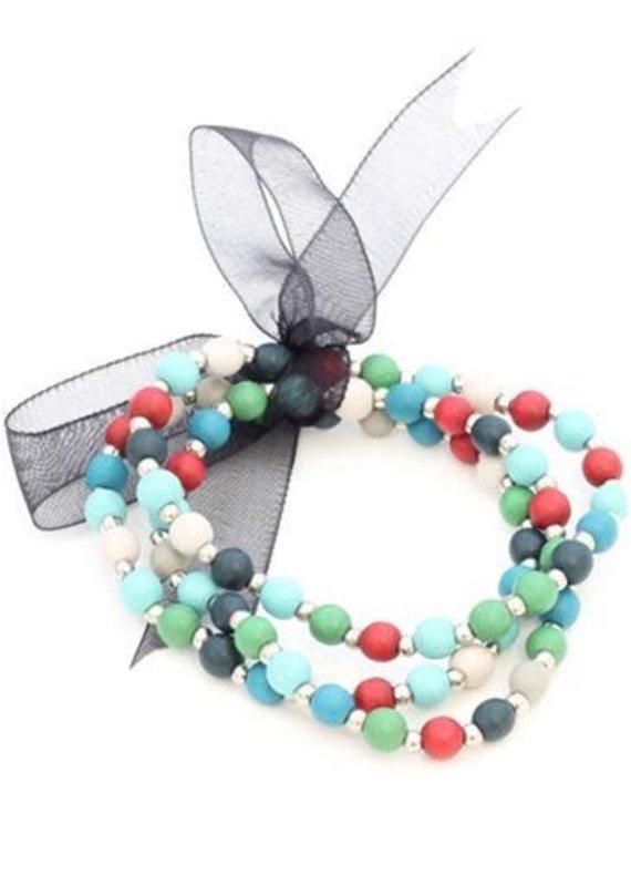 Suzie Blue Triple Strand Wooden Bead Bracelet