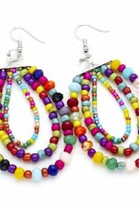 Suzie Blue Multi Colour Triple Strand Crystal Bead Earrings