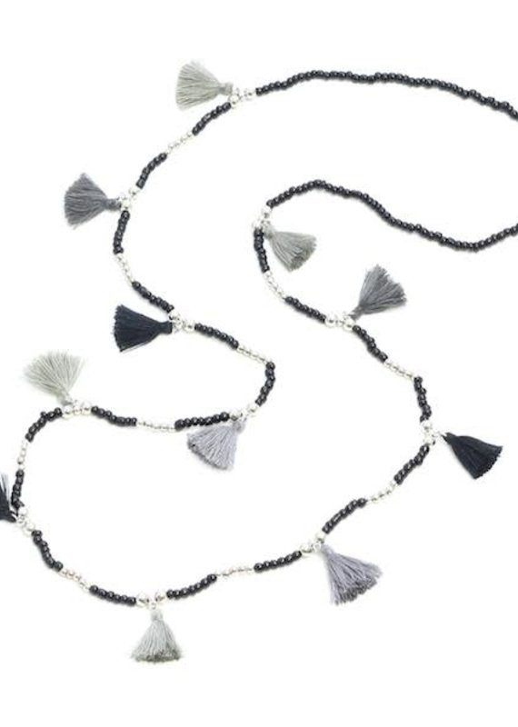 Suzie Blue Black & Grey Beaded Necklace with Tassels