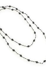 Suzie Blue Single Strand Lava Stone Long Necklace