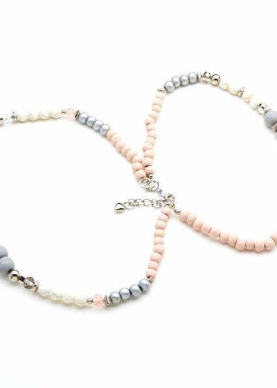 Suzie Blue Short Wooden Double Strand Necklace