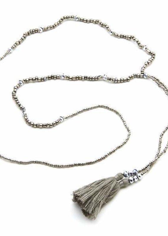 Suzie Blue Simple Tassel Necklace