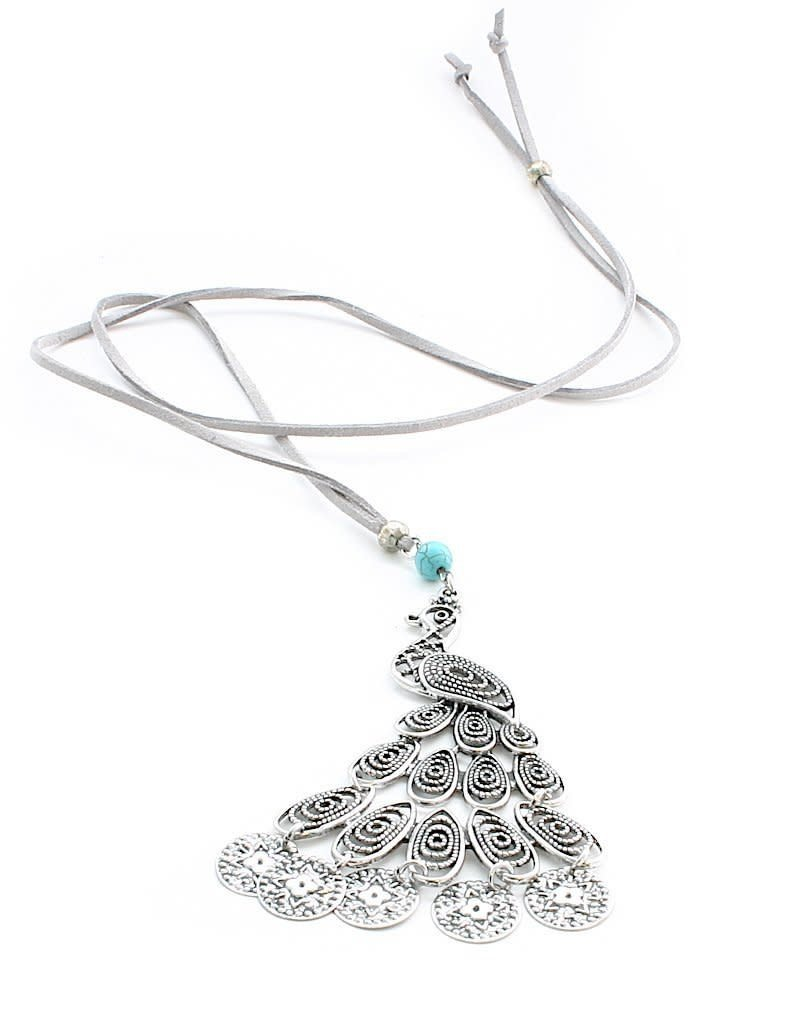 Suzie Blue Long Suede Necklace with Peacock Pendant