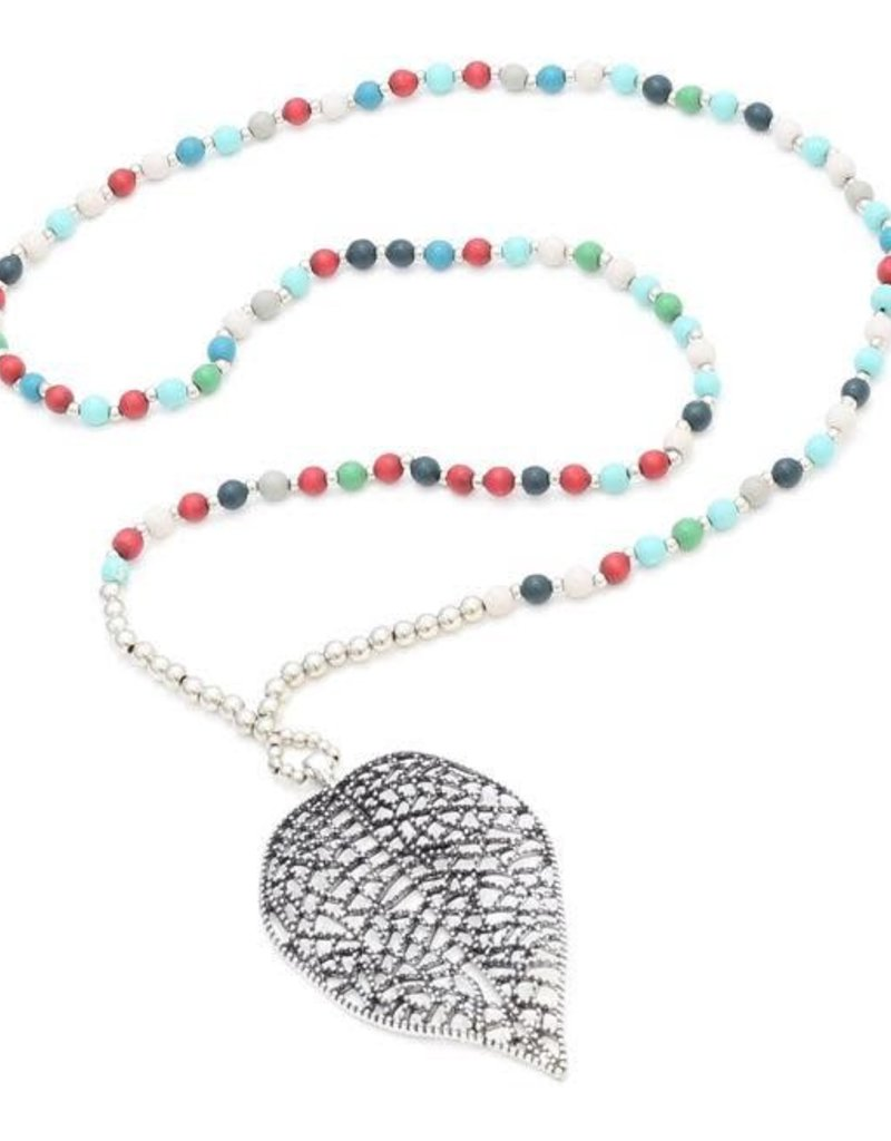Suzie Blue Wooden Bead Necklace With Filigree Leaf