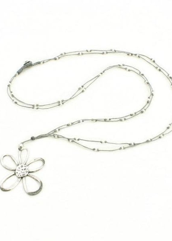 Suzie Blue Long Grey Necklace with Flower
