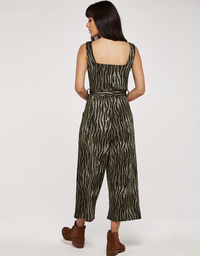 Apricot Zebra Stripe Notch V Square Neck Jumpsuit