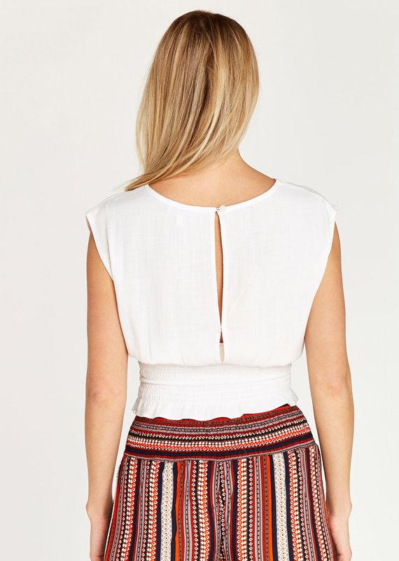 Apricot Shirred Waist Sleeveless Crop Top